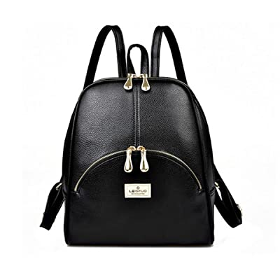 Hanshu PU Leather Solid Soft Backpack Bags, Lightweight Tote Double Zipper Daypacks, Black