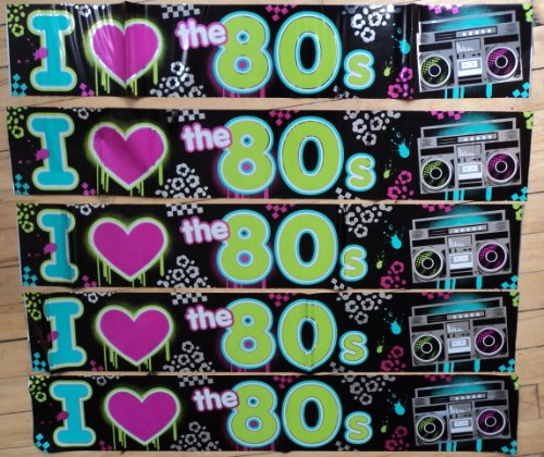 80s Party Decoration - I Love 80s Banner - 7.6 metres long! by 80s Material Girl by 80s Material Girl