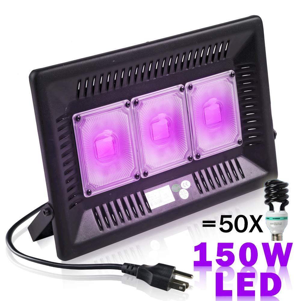 UV LED Black Light Ultraviolet Lamp Dance Party Dark Aquarium Body Paint Fluorescent Poster Neon Glow Curing Halloween Detector (UV395nm-No Plug, 150W)