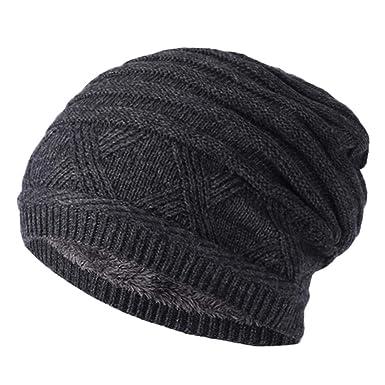f7659b5b6d5 iHENGH Unisex Winter Mütze Männer Frauen Baggy Warm häkeln Winter Hüte  Wolle Stricken Ski Beanie Skull