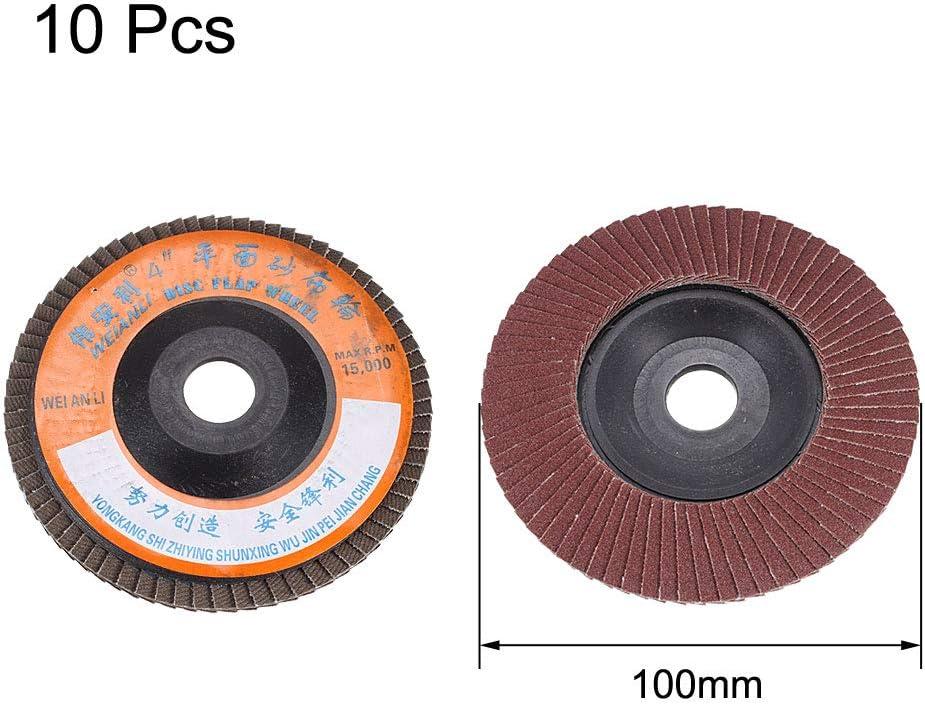 uxcell Metal Polishing 100mm Dia 80 Flap Sanding Abrasive Wheels Discs 10Pcs