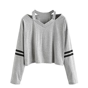 Mujeres Tops Rovinci Moda Manga Larga Camisa de Entrenamiento Cuello en V Casual Tops Blusa (
