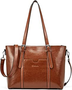 BOSTANTEN Women Leather Laptop Tote Office Shoulder Handbag Vintage Briefcase 15.6 inch Computer Work Purse Brown