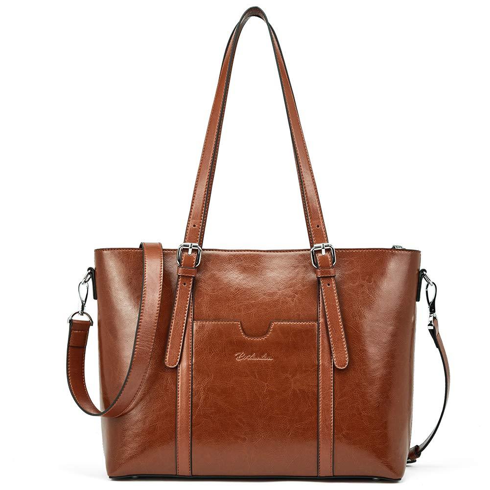BOSTANTEN Women Leather Laptop Shoulder Handbag Vintage Briefcase 15.6'' Computer Work Tote Bag Brown