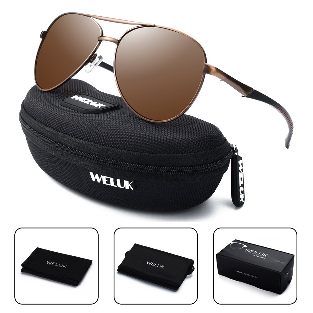 WELUK Aviator Sunglasses for Men Polarized Military Retro Large Frame 62)