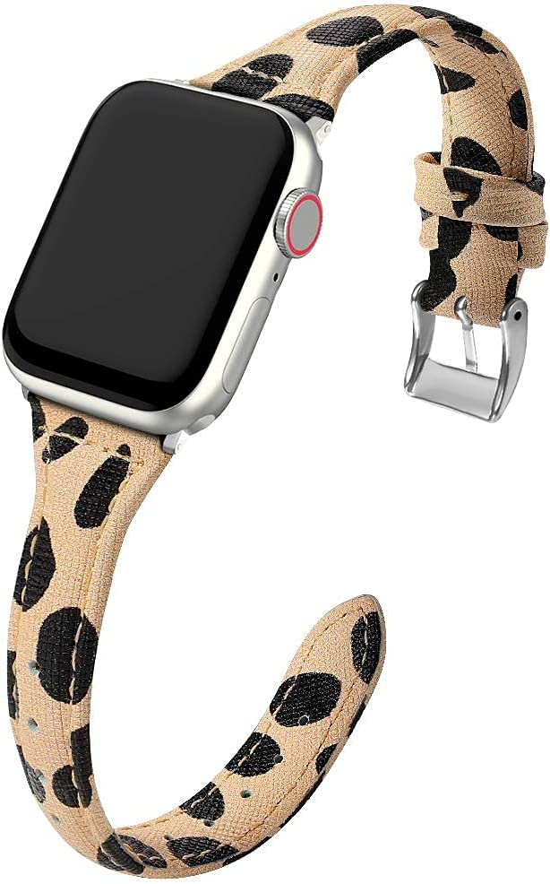 MARGE PLUS Compatible Apple Watch Band 42mm 44mm Women, Slim Genuine Leather Watch Strap Replacement for iWatch SE Series 6 5 4 3 2 1, (Cheetah Dots Band paired with Silver Adapter).