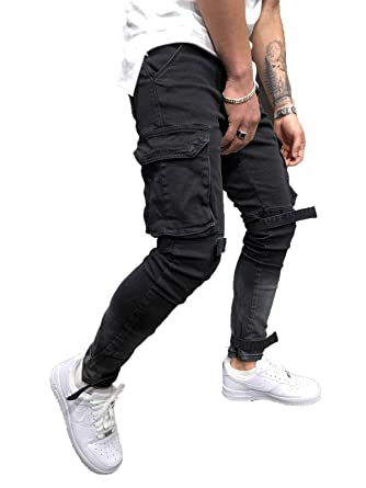 fc0f4c81 Mens Slim Fit Pants Urban Straight Leg Casual Pencil Jogger Cargo Trousers  (28, Black