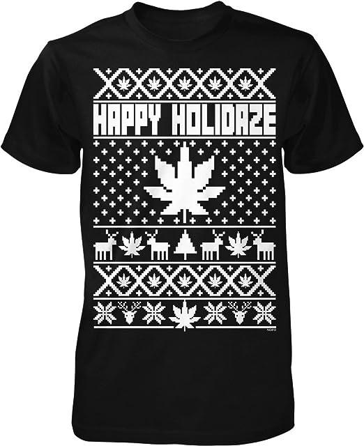 happy holidaze marijuana weed ugly christmas sweater mens t shirt nofo clothing co