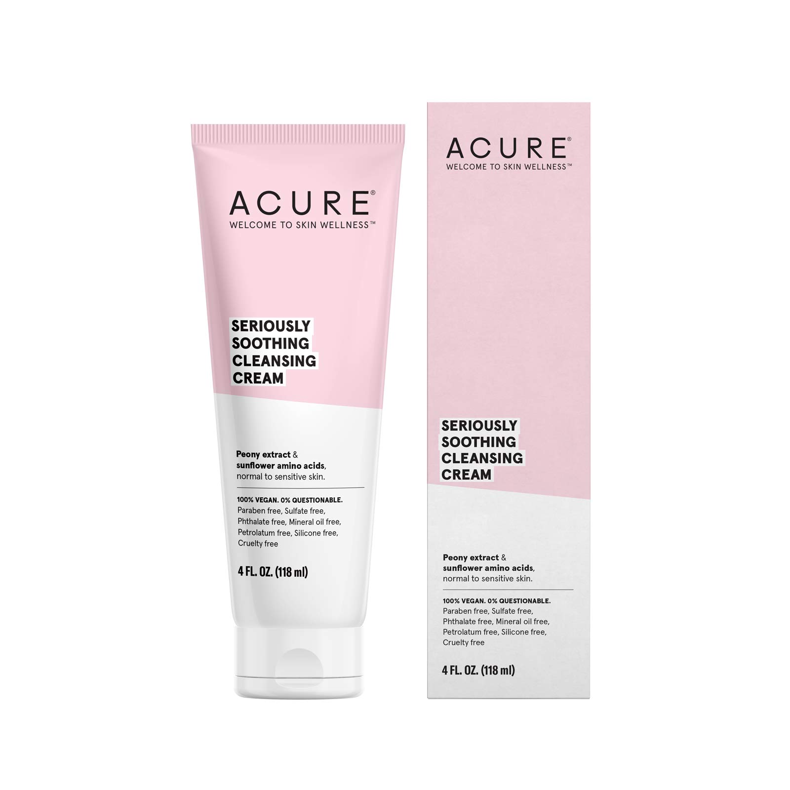 ACURE Seriously Soothing Cleansing Cream | 100% Vegan | For Dry to Sensitive Skin | Peony Extract & Chamomille - Soothes , Hydrates & Cleanses | 4 Fl Oz