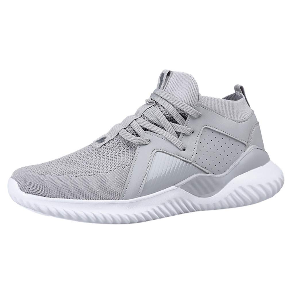 Caopixx Sneakers for Men's Breathable Mesh Platform Slip On Lightweight Daily Walking Sneakers Gray