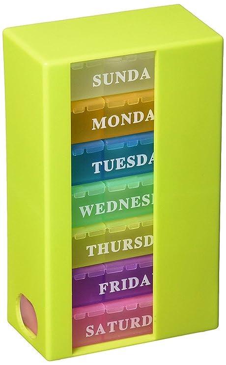 PuTwo Pastillero para 7 días Dispensador semanal de pastillas con 3 compartimentos para ir - Rainbow