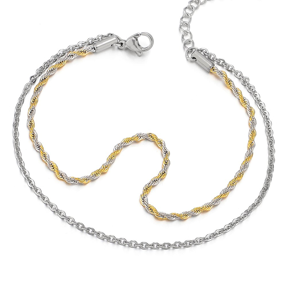 Two-Row Stainless Steel Silver Gold Anklet Bracelet Double Chain(CA) COOLSTEELANDBEYOND FA-97-CA