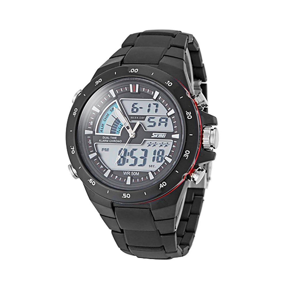 zonas de doble tiempo reloj deportivo de múltiples funciones de los hombres: Amazon.es: Relojes