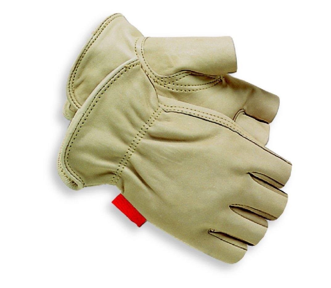Red Steer 1513 guante de cuero sin forrar del grano 1/2 dedos Guante de trabajo del propósito general, XL, [El precio es por el par]