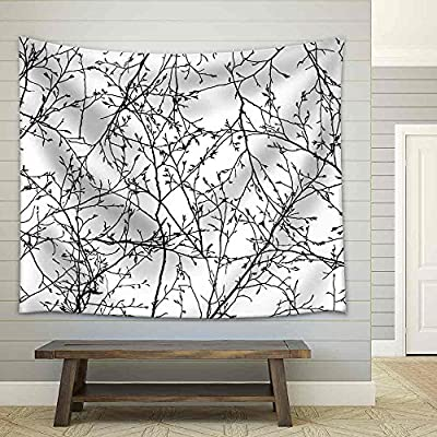 Lovely Handicraft, Vector Seamless Texture of The Branches on The White Background Fabric Wall, Classic Design