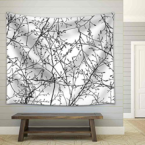 Vector Seamless Texture of The Branches on The White Background Fabric Wall