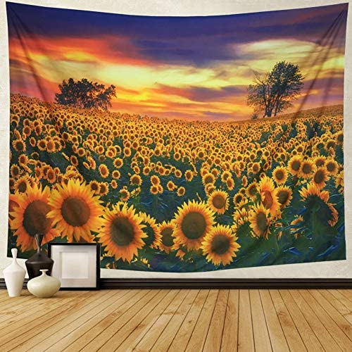 Amonercvita Sunflower Tapestry Yellow Sunflower Field Wall Tapestry Sunflower Ocean Wall Hanging Boho Landscape Tapestry Plant Printed Tapestry Flower Floral Tapestry for College X-Large, Sunflower