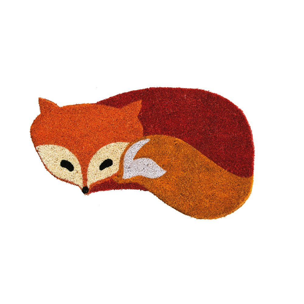 """Evergreen Fox Shaped Natural Coconut Fiber Coir Welcome Mat - Smallest Portion: 21""""W x 10""""H, Largest Portion: 26.5""""W x 15""""H"""