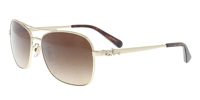 2b3fec7de4 Coach Women s HC7080 Sunglasses Light Gold Brown Gradient 55mm at Amazon  Women s Clothing store