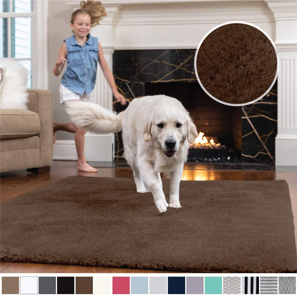 Gorilla Grip Original Faux-Chinchilla Area Rug, 4x6 Feet, Super Soft and Cozy High Pile Washable Carpet, Modern Rugs for Floor, Luxury Shag Carpets for Home, Nursery, Bed and Living Room, Brown