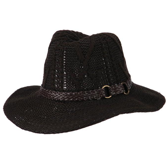 Women s Acrylic Yarn Cowboy Safari Hat - Brown OSFM  Amazon.com.mx  Ropa 0b06b026b54