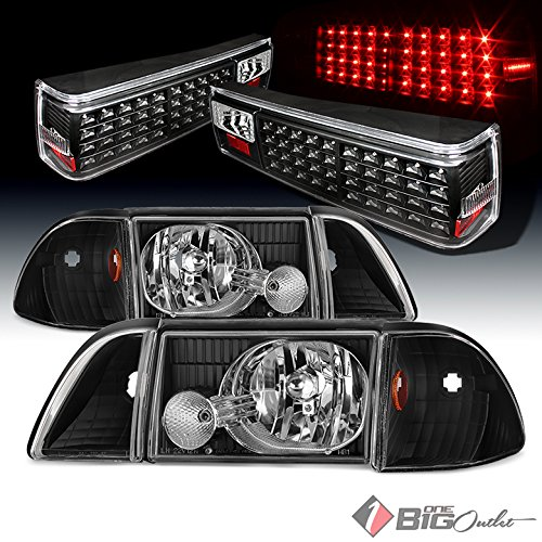 For 1987-1993 Ford Mustang Black Aftermarket Headlights + LED Tail Lights w/ LED Signal 1988 1989 1990 1991 1992
