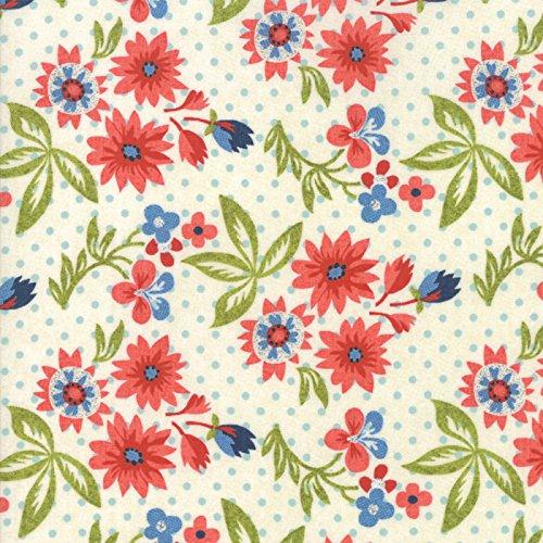 (Biscuits Gravy - Red Flowers on Cream - Moda Cotton Fabric)