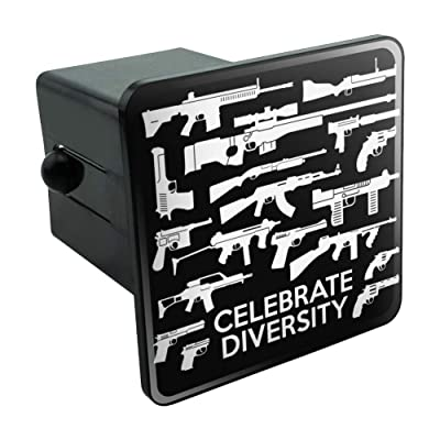 """Graphics and More Guns Weapons Rifles Celebrate Diversity Second 2nd Amendment Tow Trailer Hitch Cover Plug Insert 2"""": Automotive"""
