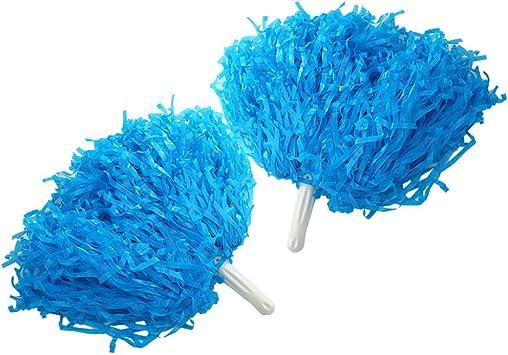 Pom Pom Blue Accessory for American Sports Fancy Dress-Pom Pom-Pom Girl Dance