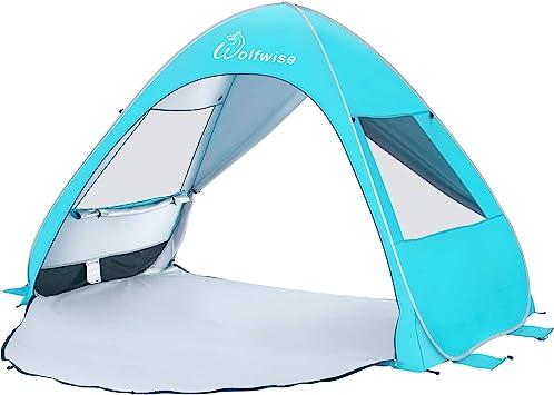 WolfWise UPF 50 Tienda de Campaña Pop up Tienda De Playa Bebe Desplegable Instantánea Refugio para el Sol Viaje Plegable y Portátil para Familia Al ...