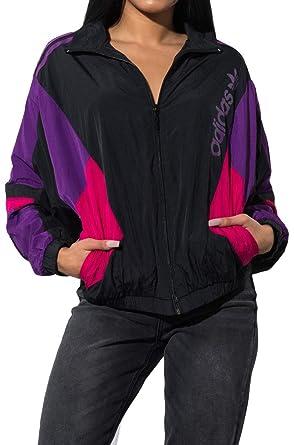 a6de1921 adidas Women's Retro Colorblock 3-Stripes Windbreaker Jacket-BLACK_XS