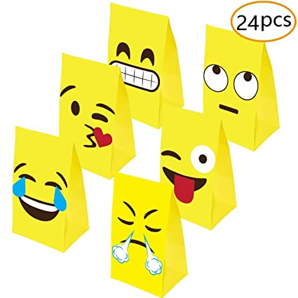 Amazon Emoji Gift Bags Party Favors Goodie Bag Glitter Treat For Supplies Gifts Kids Set Of 24 Toys Games