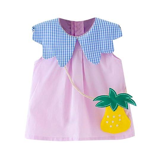 3fa9f6975a2f MOGOV Summer Toddler Kid Baby Girl Cute Plaid Printed + Fruit Shape Bag  Party Princess Dress