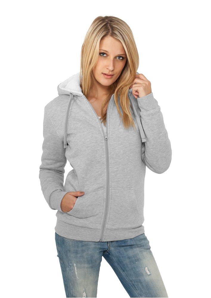 Urban Classics TB396 Ladies Winter Zip Hoody Slim Fit Zip L Grey White L