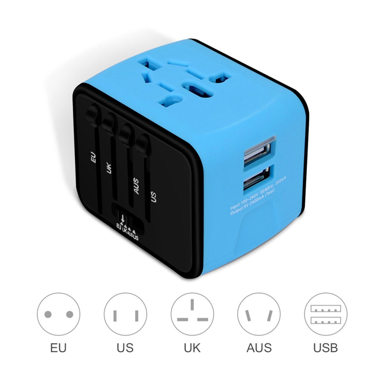 International Power Adapter, Universal Travel Adapter, European Power Adapter, with High Speed 2.4A 2-port USB Charger Worldwide AC Wall Outlet Plugs For Business Travel of US, EU, UK, AU
