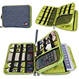 BUBM Compact Cord Organizer, Double Layers Electronics Travel Organizer Bag for Cables, Cords, iPad, Phone, Power Bank, USB, Flash Drive (Large, Blue +Green)