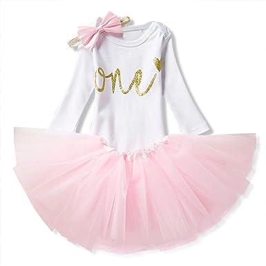 NNJXD Mädchen Newborn 1. Geburtstag 3 Stück Outfits Strampler + Tutu Kleid + Stirnband