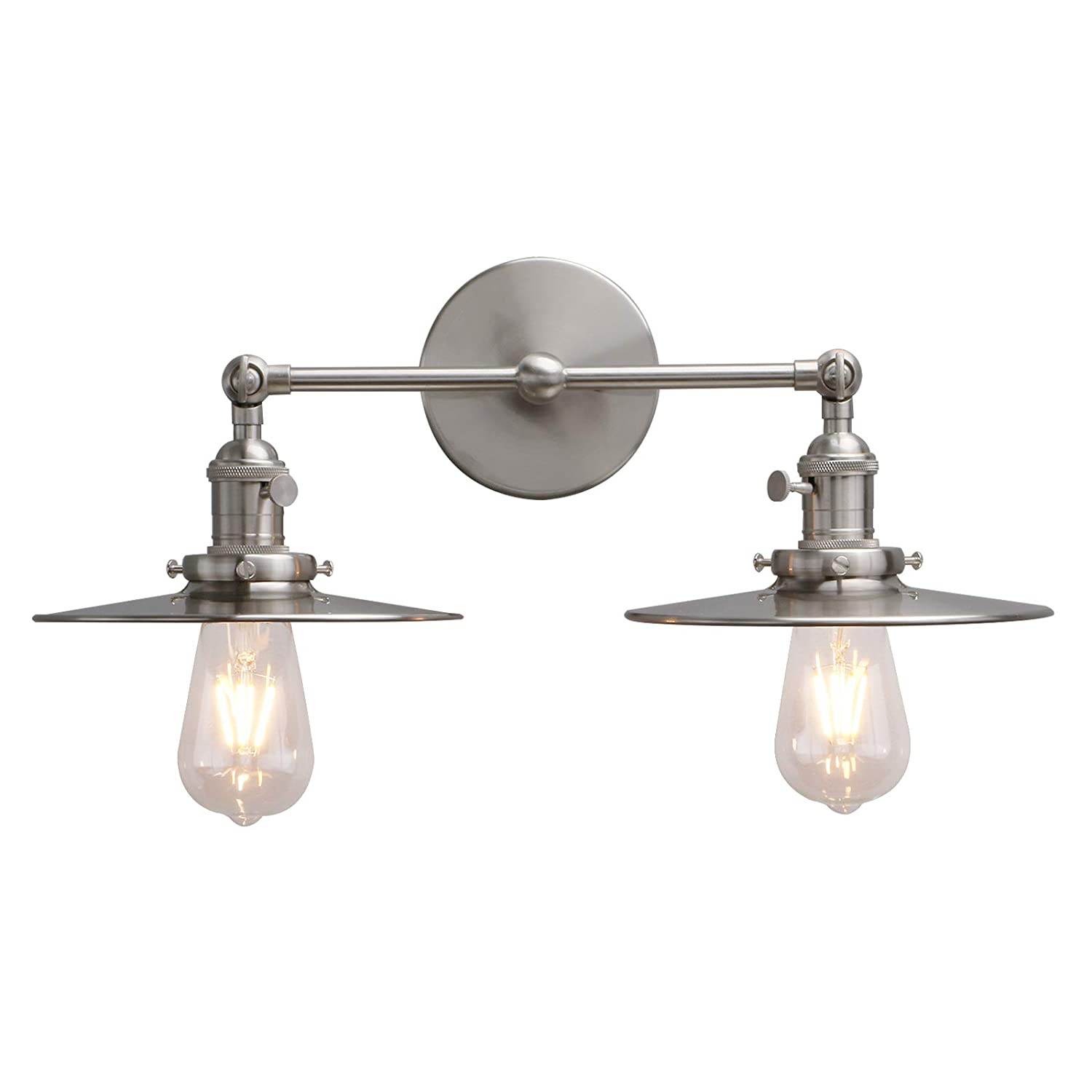Phansthy dual light wall light doulbe wall sconce lighting with switch and 7 87 flat metal canopy brushed nickel finished brushed