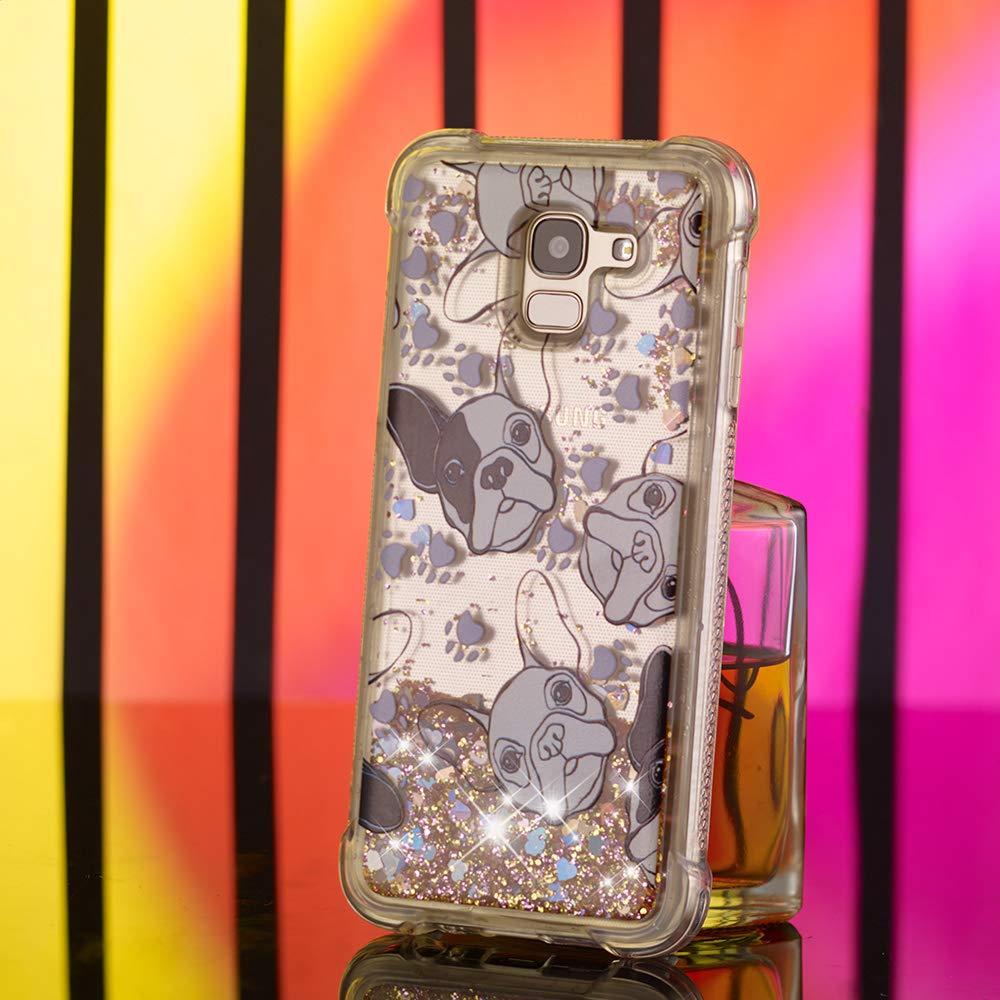 Abuenora Funda Compatible con Samsung Galaxy J6 2018 Carcasa Transparente Silicona Antigolpes 360 Case con Purpurina Lentejuelas L/íquido Agua TPU Dibujo Perro