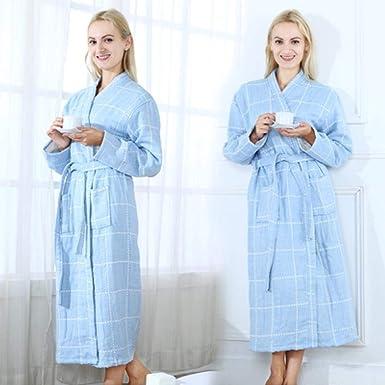 Verano 100% Algodón Camisón Bata De Baño Sexy Ropa De Dormir para Mujer Doble Cubierta Gasa Camisones Albornoz Femenino para El Hogar, Azul Cuadrado, XXL: Amazon.es: Ropa y accesorios