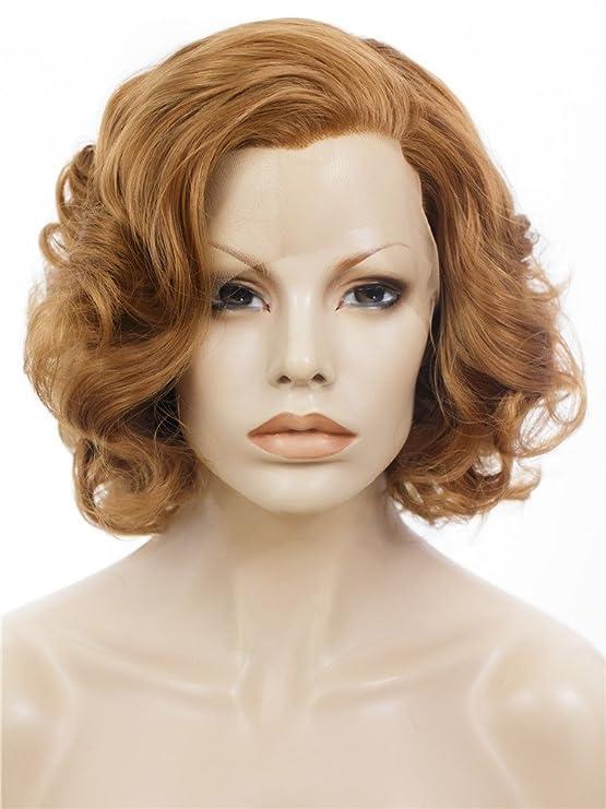 Imstyle corto Bob ondulado miel Rubio Marilyn Monroe peinado sintético peluca Lace Front Peluca: Amazon.es: Belleza