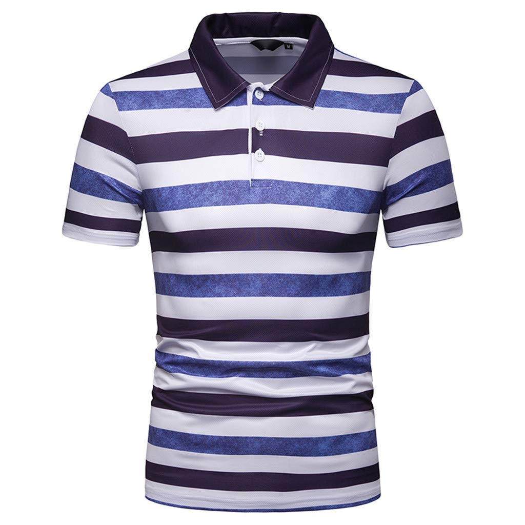 NUWFOR Men's Fashion Short Sleeve Stripe Painting Large Size Casual Top Blouse Shirts(Blue,M US Chest:39.4''