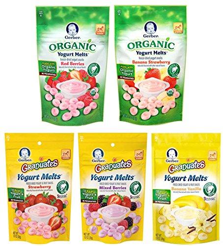 Gerber Yogurt Melts Variety Bundle, (Pack of 5) includes 1-Bag each Organic Red Berries, Organic Banana Strawberry, Strawberry, Banana Vanilla, Mixed Berries by Generic (Image #2)