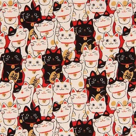 COSMO Tela Dobby con Gatos de la Suerte Negro Crema Claro Japón: Amazon.es: Hogar