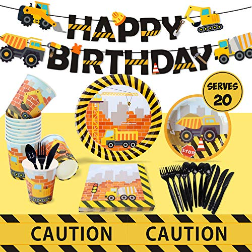 Construction Birthday Party Supplies Set Including Dump Truck Plates, Tablecloth, Cups, Napkins, Black Flatware and Pre-Assembled Happy Birthday Banner Decorations