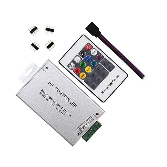 HUALAND 20 llaves RF remoto inalámbrico RGB LED controlador de luz de aluminio carcasa DC 12 - 24 V, 12 A SMD 5050 3528 LED tira: Amazon.es: Instrumentos ...