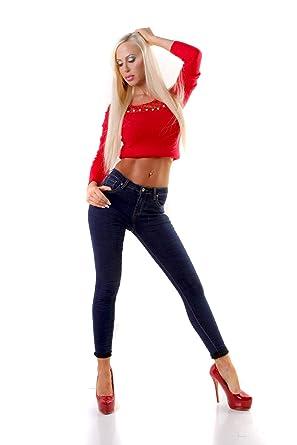 8a4aa725eb3e OSAB-Fashion 4562 Lange Damen Jeans Hose Eng Fransen Damenjeans Röhrenjeans  Dunkelblau  Amazon.de  Bekleidung