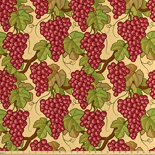 Lunarable Vine Fabric by The Yard, Harvest Fruit Arrangement Grapes Leaves Summer Season Food Retro Style Nature Image, Decorative Satin Fabric for Home Textiles and Crafts, 5 Yards, Ruby Green