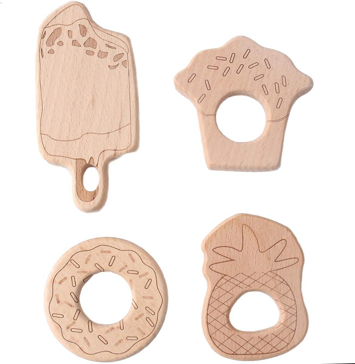 Promise Babe 11pc Dents en Bois Organiques Accessoires de Bijoux de Dentition en Bois Naturel D/éveloppement Moteur fin Montessori Toys Christmas//Shower Gift