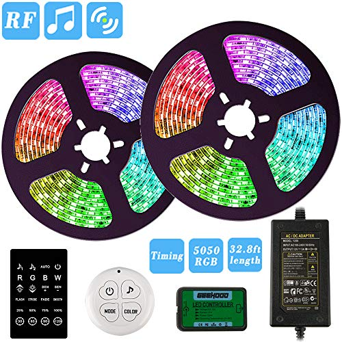 LED Strip Lights, GEEHOOD 32.8ft RGB Light Strips, Music Sync Color Changing, 5050 RGB Rope Light 300 LEDs, Dual RF Remote Controller Flexible Strip for Home Party Bedroom Decoration Dimmable Timed